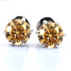 1.80 Ct Champagne Diamond Studs in Prong Setting, 100 % Certified - ZeeDiamonds