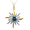 2.50 Ct AAA Certified Blue Diamond Sun Pendant with Diamond Accents