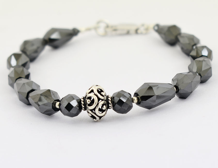 50 Ct Drum Cut Round Black Diamond Fancy Silver Moti Bracelet - ZeeDiamonds