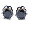 7 mm, 3 Carat Round Black Diamond Solitaire Studs, Great Shine