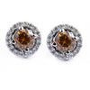2 Ct Champagne Diamond Solitaire Studs with Diamond Accents - ZeeDiamonds