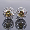 1.8 Ct Champagne Diamond Solitaire Studs with Diamond Accents - ZeeDiamonds