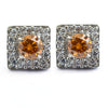 1.6 Ct Champagne Diamond Solitaire Studs with Diamond Accents - ZeeDiamonds