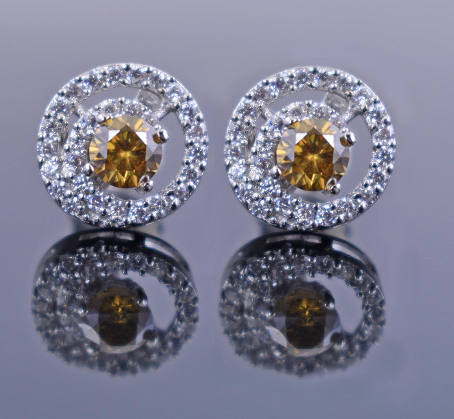 1.4 Ct Champagne Diamond Solitaire Studs with Diamond Accents - ZeeDiamonds