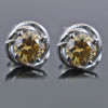 2.40 Ct Champagne Diamond Solitaire Studs in 925 Sterling Silver - ZeeDiamonds