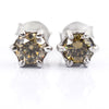 1.8 Ct Champagne Diamond Solitaire Studs in 925 Silver - ZeeDiamonds