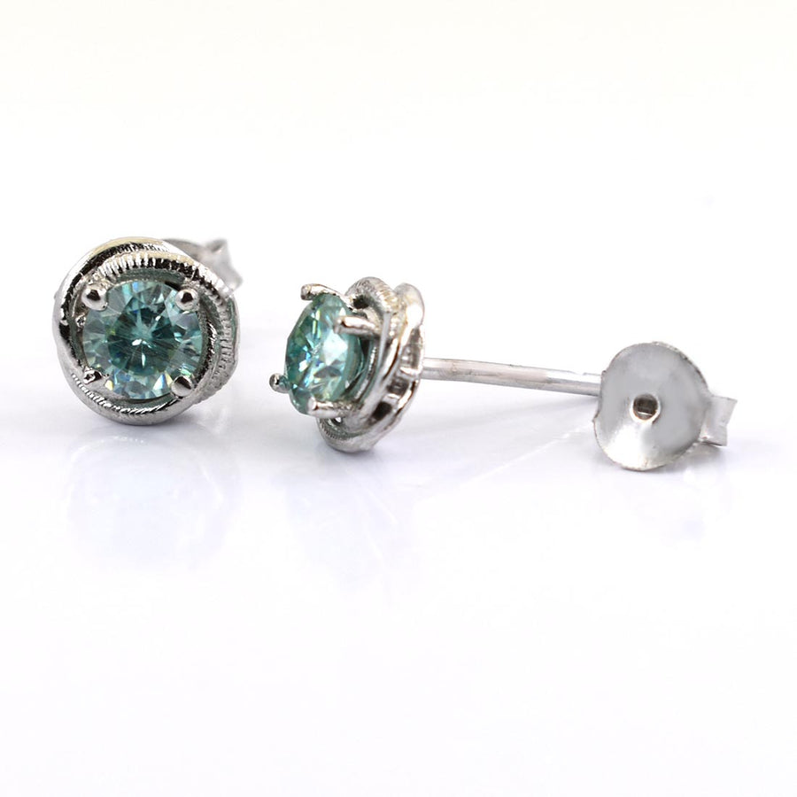 2 Ct Blue Diamond Solitaire Studs in 925 Sterling Silver - ZeeDiamonds