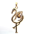 1.5 Ct Champagne Diamond Swan Pendant With Diamond Accents - ZeeDiamonds