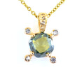 1 Carats Cushion Shape Blue Diamond Solitaire Pendant With Accents - ZeeDiamonds