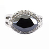 3 Ct Marquise Shape Black Diamond Ring With Diamond Accents - ZeeDiamonds