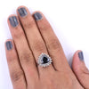 5 Ct Trillion Shape Black Diamond Ring With Diamond Accents - ZeeDiamonds