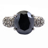 4.5 Ct Black Diamond Ring With Rose Cut Diamond Accents