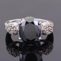 6.55 Ct Black Diamond Solitaire Cocktail Ring with Diamond Accents - ZeeDiamonds