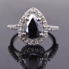 3 Ct Black Diamond Ring With Rose Cut Diamond Accents - ZeeDiamonds