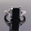 7 Ct Certified Emerald Cut Black Diamond Ring With Diamond Accents
