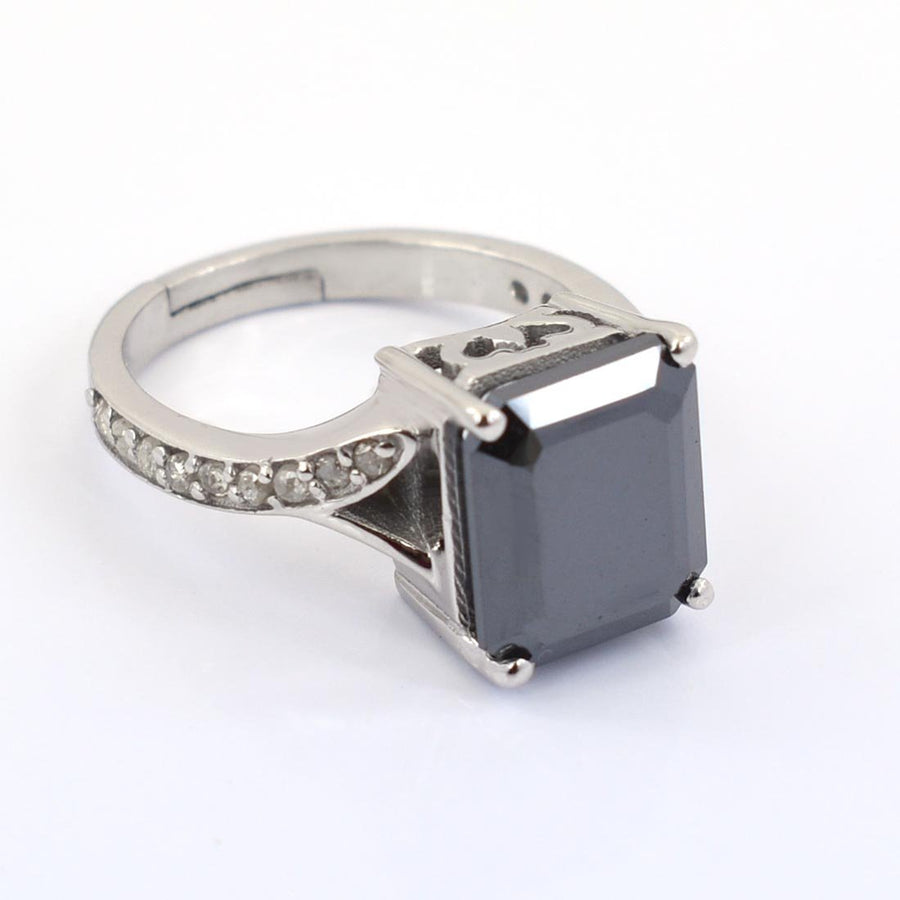 7 Ct Certified Emerald Cut Black Diamond Ring With Diamond Accents - ZeeDiamonds