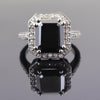 5.30 Ct Black Diamond Solitaire Designer Ring with Diamond Accents