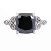 4.30 Cts Cushion Cut Black Diamond with White Diamond Accents Designer Ring