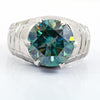 5 Ct AAA Certified Blue Diamond Solitaire Heavy Ring, Men's Design