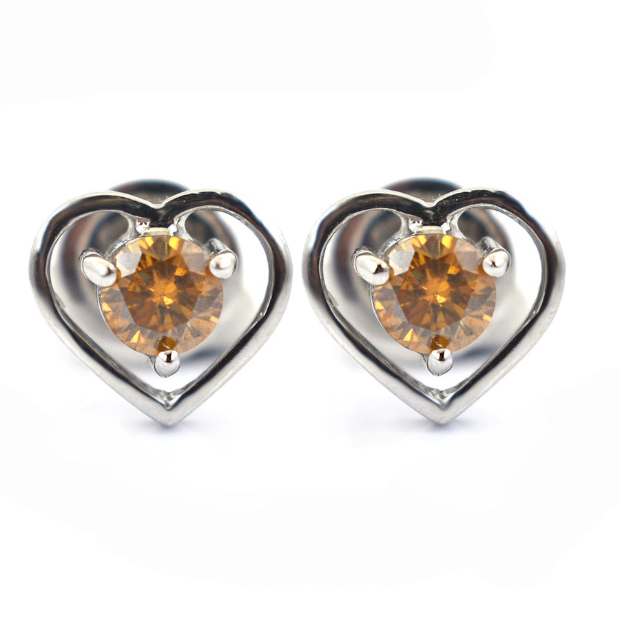 1.6 Ct Heart Shape Champagne Diamond Solitaire Studs - ZeeDiamonds