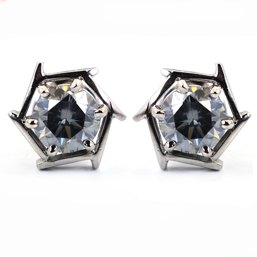 3 Ct Blue Diamond Solitaire Studs in 925 Sterling Silver - ZeeDiamonds