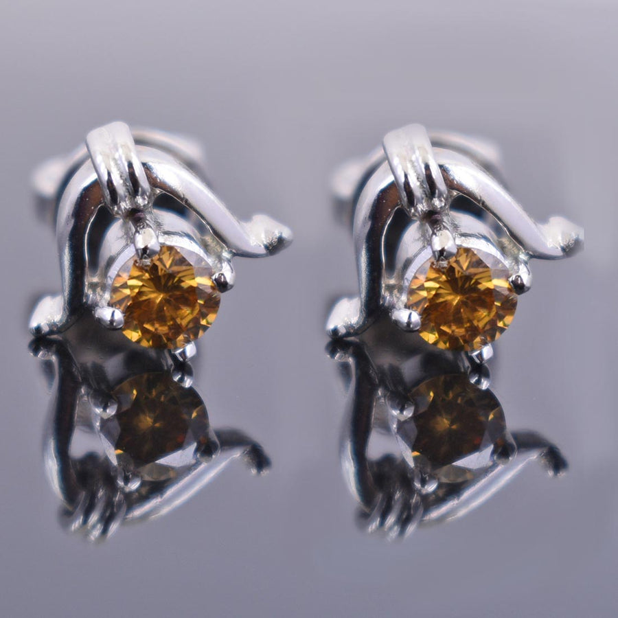 2 Ct Champagne Diamond Solitaire Studs in 4 Prong Setting - ZeeDiamonds