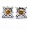 2.4 Ct Champagne Diamond Solitaire Studs in 3 Prong Setting - ZeeDiamonds