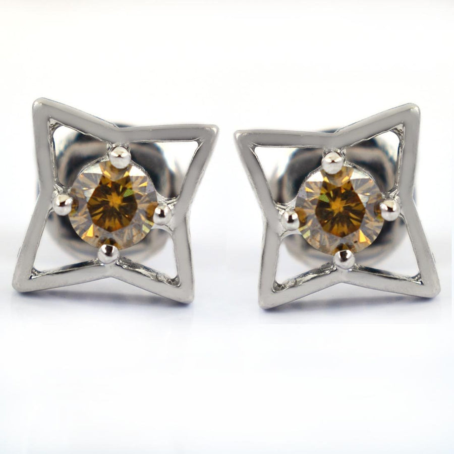 1.4 Ct Champagne Diamond Solitaire Studs in 4 Prong Setting - ZeeDiamonds