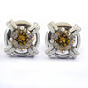 2 Ct Champagne Diamond Solitaire Studs in 925 silver - ZeeDiamonds