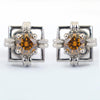 2 Ct Champagne Diamond Solitaire Studs in 925 Sterling silver - ZeeDiamonds