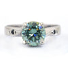 1.80 Ct Certified Blue Diamond Women's Ring with Black Diamond Accents