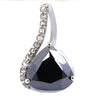 3.5 Ct Black Diamond Solitaire Pendant with Diamond Accents