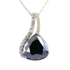 8.50 Ct Pear Cut Black Diamond Designer Pendant with White Diamond Accents - ZeeDiamonds