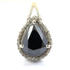 3 Ct Pear Shape Black Diamond Pendant with White Diamond Accents