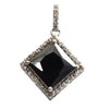 7.5 Ct Black Diamond Solitaire Pendant with Diamond Accents - ZeeDiamonds