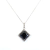 5.25 Ct Princess Cut Black Diamond with Diamond Accents Designer Pendant - ZeeDiamonds