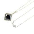 3 Ct AAA Quality Black Diamond Solitaire Pendant with Diamond Accents - ZeeDiamonds
