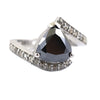 3.5 Ct Pear Shape Black Diamond Ring With Diamond Accents - ZeeDiamonds