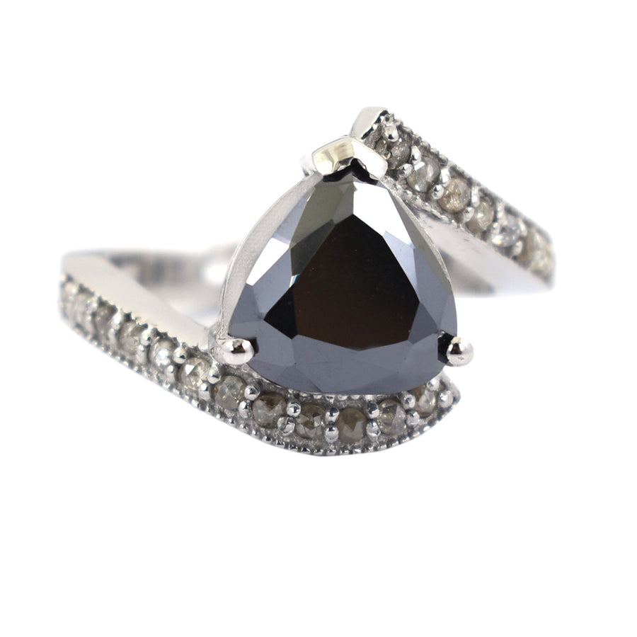 3.5ct Trillion Shape Black Diamond Solitaire Ring With Ruby Accents