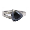 4.20 Ct Triangle cut Black Diamond with White Diamond Accents Fancy Ring