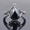2.5 Ct Pear Shape Black Diamond Ring With Diamond Accents
