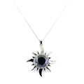10 Ct Black Diamond Solitaire Sun Pendant with Diamond Accents - ZeeDiamonds