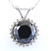 9.60 Ct Brilliant Cut Black Diamond Pendant with White Diamond Accents - ZeeDiamonds