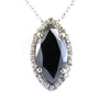5.70 Ct Marquise Shape Black Diamond Designer Pendant with White Diamond Accents - ZeeDiamonds