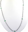 ELEGANT 3 MM BLACK DIAMOND NECKLACE WITH EMERALDS