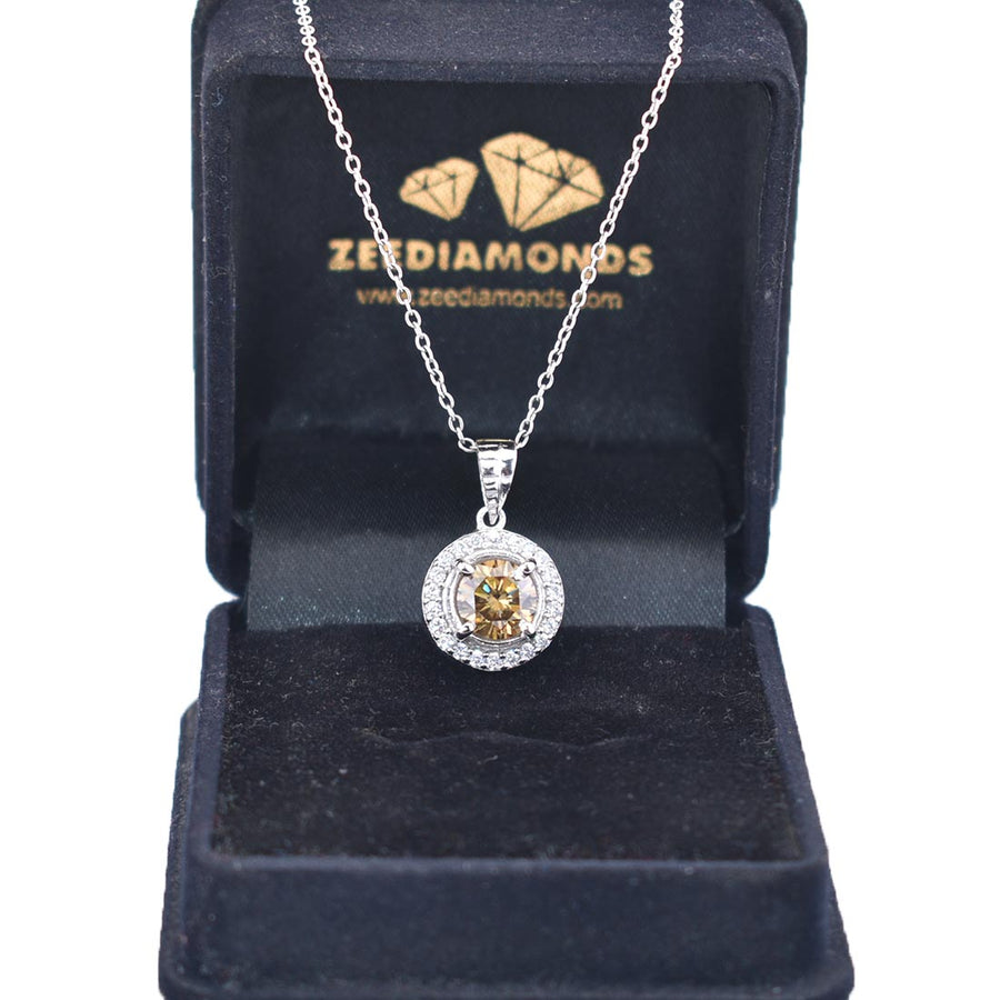 2.10 Ct Certified Champagne Diamond Pendant With Diamond Accents