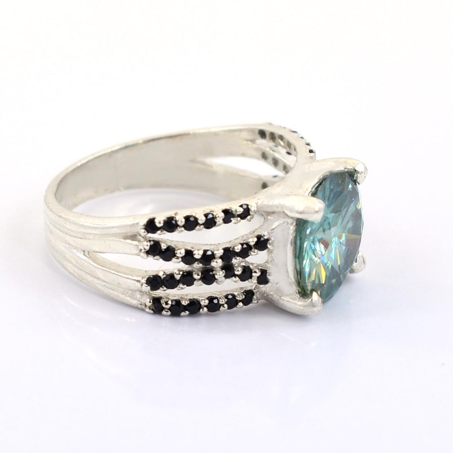 3 Ct Blue Diamond Ring with Black Diamond Accents.Amazing design! - ZeeDiamonds