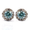 2 Ct Blue Diamond Studs With Diamond Accents, 100% Certified, Great Shine & Lustre ! - ZeeDiamonds