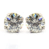 3.70Ct Elegant Off-White Diamond Solitaire Studs, Excellent Cut & Luster - ZeeDiamonds