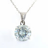 2.90 Ct AAA Certified Off-White Tinge of Blue Diamond Solitaire Pendant